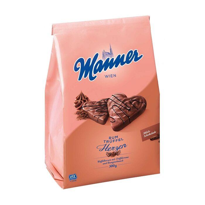 Manner Tejcsokoládéba Mártott, Rumízű Trüffelkrémmel Töltött Ropogós Ostyaszívek 300 g